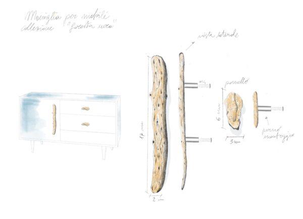 maniglia fissa maniglia per mobili con texture legno modello salice by niva design