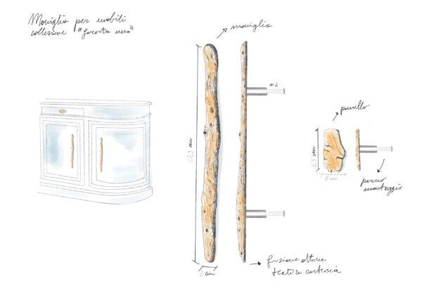 maniglia fissa maniglia per mobili con texture legno modello sambuco by niva design