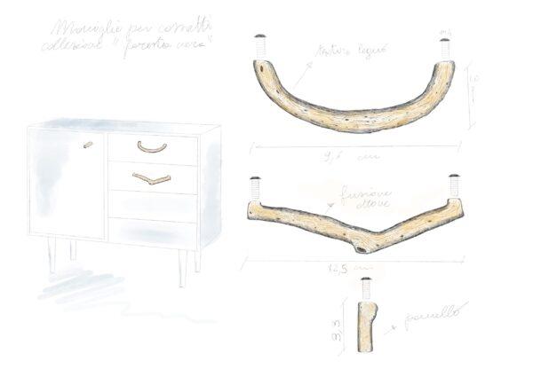 maniglia fissa maniglia per mobili con texture legno tiglio by niva design