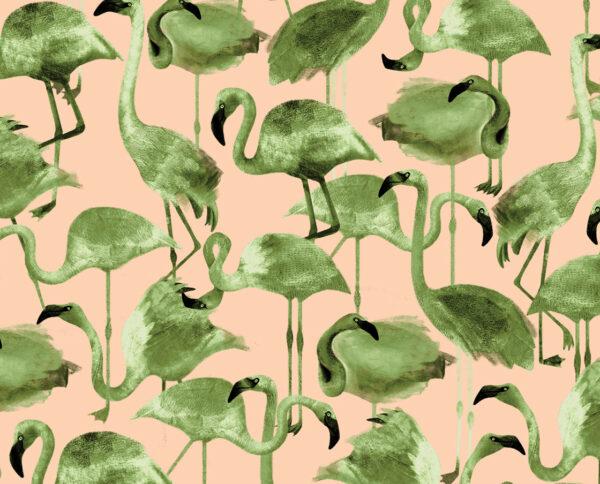 carta da parati modello flamingo cipria disegnata a mano by niva design