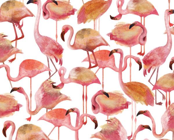 carta da parati modello flamingo pink disegnata a mano by niva design