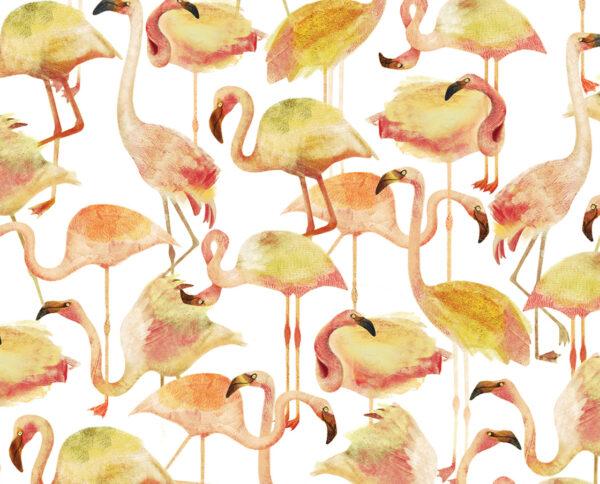 carta da parati modello flamingo yellow disegnata a mano by niva design